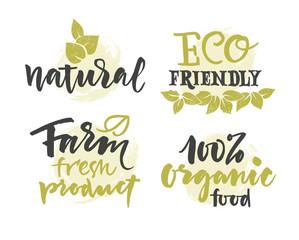 Vector natural organic food label. Farm products eco design
