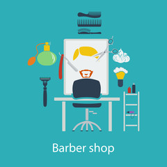 Barber shop flat design