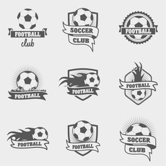 set of football or soccer labels, badges and logos. vector illustration