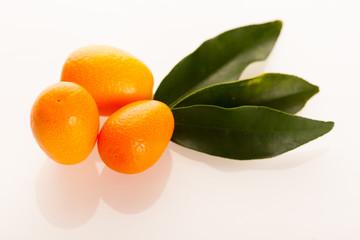 Fresh, ripe kumquat fruit with green leaves isolated over white.