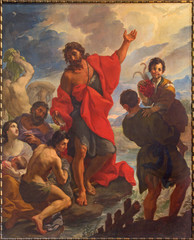 Rome - The St. John baptizes the Crowds in church by Giuseppe Ghezzi (1695 - 1696)  in church Chiesa di San Silvestro in Capite and The chapel of Holy Spirit.