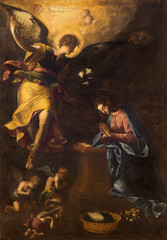 Rome - The Annunciation paint by Francesco Nappi (1604 - 1617) in church Chiesa di Santa Maria in Aquiro.