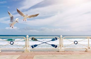 Wall Mural - Möwen über einer Uferpromenade am Meer mit weißem Geländer und maritimer Dekoration