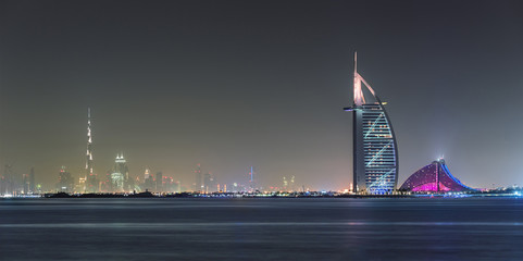 Spoed Fotobehang Dubai Dubai Panoramic Night View