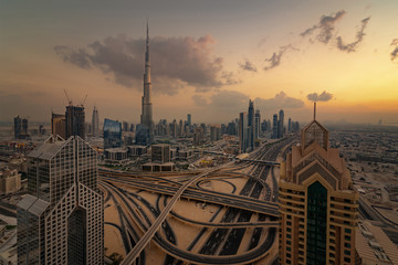 Dubai Downtown Golden Sunset