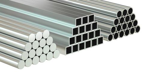 set of rolled metal, 3D rendering