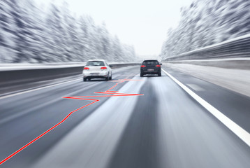 Safety car overtaking on highway with heart health pulse on slippery asphalt road. Motion blur visualizies the speed and dynamics.