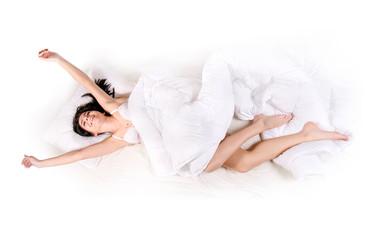 stretch girl lying in bed