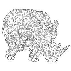 Zentangle stylized cartoon rhino (rhinoceros), isolated on white background. Hand drawn sketch for adult antistress coloring page, T-shirt emblem, logo or tattoo with doodle, zentangle design elements