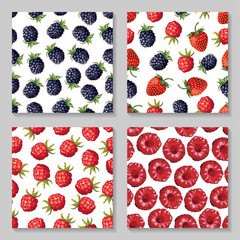 Blackberry and raspberry seamless pattern set
