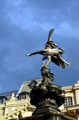 Statue of Eros at Picadilly Circus, London.