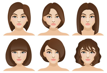Set of six hairstyles for girls with short hair