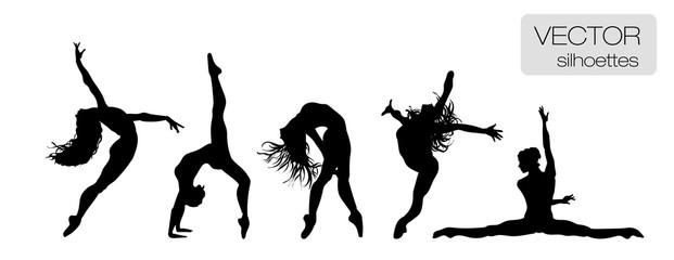 Silhouettes of sexy beautiful women dancing. Flexible girls. Acrobatic. Set of vector silhouettes