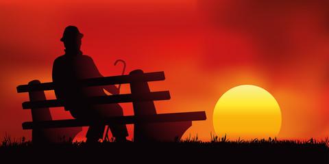 Vieillesse - Solitude - Coucher de soleil