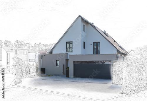 modernes satteldachhaus mit garage stockfotos und lizenzfreie bilder auf bild. Black Bedroom Furniture Sets. Home Design Ideas
