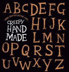 Creepy Ancient Handmade Lettering. vector illustration.