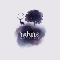 Watercolour Abstract Nature. Watercolour with a tree, stag and birds. Vector illustration.
