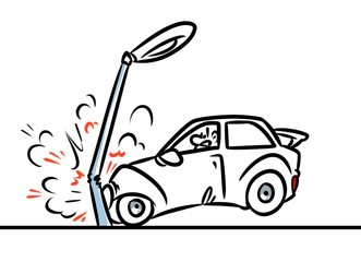 car accident cartoon illustration contour