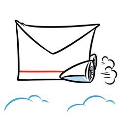 Jet-mail fast Mail cartoon illustration  metaphor caricature parody  flight sky clouds
