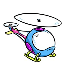 Bright childrens helicopter cartoon illustration