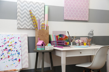 Colorful design workplace at home