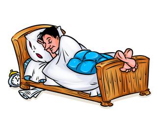 Man asleep in bed illustration cartoon  image