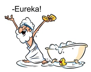 Archimedes Eureka swimming bath cartoon illustration funny Greek