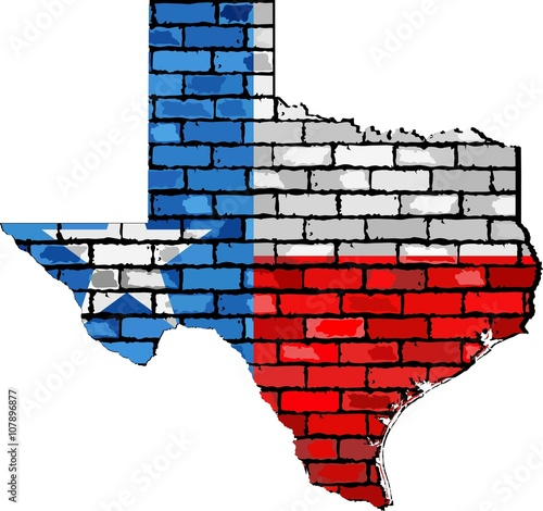 Texas map on a brick wall - Illustration, The state of Texas map ...