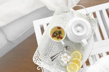 Tea set on the tray