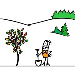 Autumn tree gardener cartoon illustration