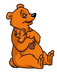 Brown bear mom small teddy bear cartoon illustration isolated image animal character