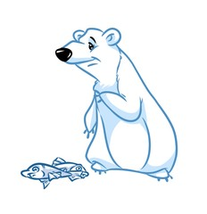 Polar bear fish cartoon illustration    image animal character