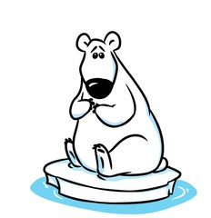polar bear ice floe north pole cartoon illustration