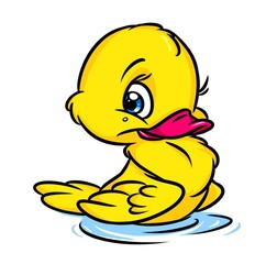 Little yellow duckling cartoon illustration