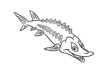 Sturgeon fish smile illustration coloring pages isolated image