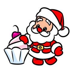 Christmas Santa Claus cake cherry cartoon illustration  isolated image character