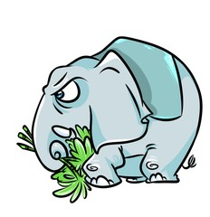 Elephant aggression cartoon illustration  image character  animal