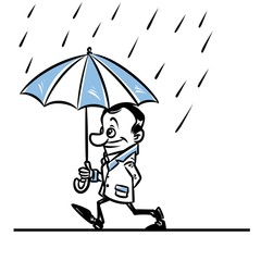 Walk rain umbrella man cartoon illustration contour