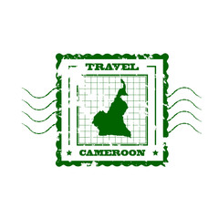 Rubber Stamp with Map of Cameroon,vector illustration