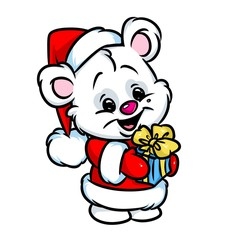 Christmas polar bear gift cartoon illustration  isolated image animal character