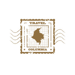 Rubber Stamp with Map of Columbia,vector illustration