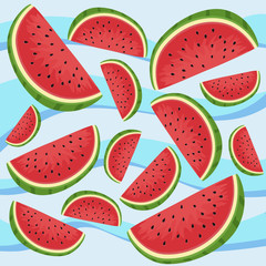 Vector illustration of watermelon fruit in blue wave background.