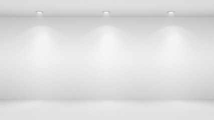 3D illustration of blank wall lighted by spotlights