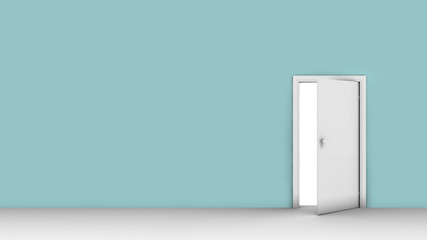 3d illustration of wall with opened door