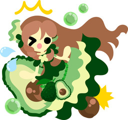 The illustration of the girl in the avocado dress