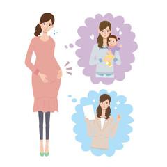 妊婦 不安 イラスト