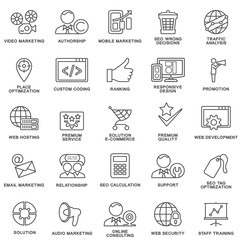 Modern SEO contour icons for web marketing optimization and customer service.