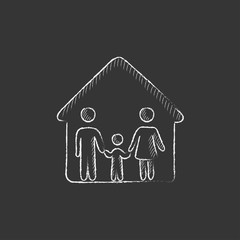 Family house. Drawn in chalk icon.
