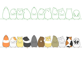 Set of hamster standing poses