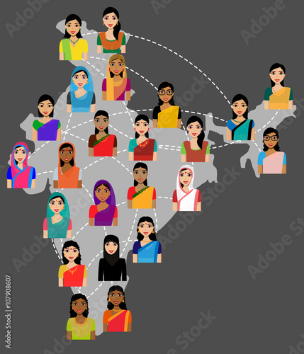 "Crowd Of Indian Women Vector Avatars Stock Vector: ""Indian Women Vector Avatars On India Map, Social Network"